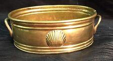 Vintage Antique Elegant Brass Pot Planter Oval Sea Shell Handles Clam Ocean