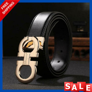 Unisex Luxury Leather Buckle Belts Genuine High Fashion Design Metal Casual Belt
