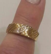 14K Yellow Gold 3-stone Diamond Ring Wedding Band   Size 6 - 4.5g.