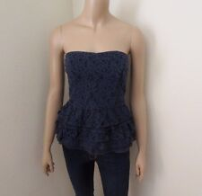NWT Hollister Womens Lace Ruffle Strapless Tube Top Size Medium Navy Blue