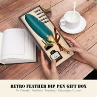 Vintage Green Quill Dip Pen Feather Pen + Ink Bottle & 5 Nibs Set Gift with Box