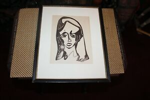 Vintage Woodblock Print Sad Woman Face Signed Mimsky Framed Black & White