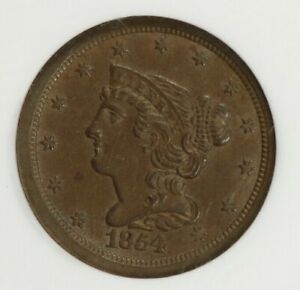 1854-P 1854 Copper Braided Hair Half Cent 1/2c NGC MS 63 BN