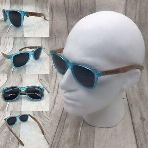 Men's Handcrafted Zebra Wood & Transparent Blue Frame TAC Polarized Sunglasses