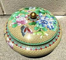 Large Chinese Antique Cloisonné Enamel Jar Box With Flowers