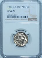 1938 D/S NGC MS67+ FS-511 OMM-001 EDS Over Mint Mark Rare D/D/D/S Buffalo Nickel
