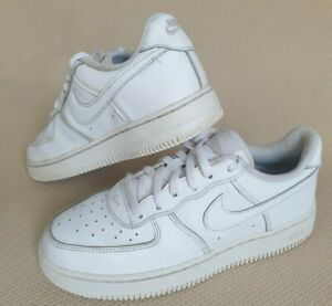 Nike Air Force 1 Boys Girls Kids White Leather Trainers Junior Size UK 2.5