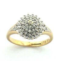 Ladies/womens, 9ct/9carat yellow gold ring with a diamond cluster, UK size N