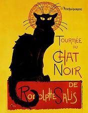 """THEOPHILE STEINLEN : LE CHAT NOIR BOHEMIAN POSTER BLACK CAT 24"""" CANVAS ART PRINT"""