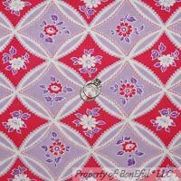 BonEful Fabric FQ Cotton Jennifer Paganelli Purple Pink Flower Shabby Chic Retro