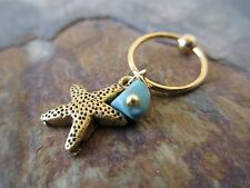 Gold Turquoise Starfish Cartilage Piercing Captive Ring Tragus Earring 16G 1.2mm