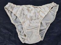 Vintage 60's Hollywood Vassarette Off White Sheer Floral Bikini Panties 5 Small