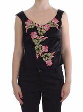 NUEVO bencivenga Blusa Top Camiseta Tirantes De Floral Seda Elástico S. it46 /