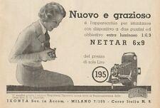 Z1098 Nettar 6 x 9 ZEISS IKON - Pubblicità d'epoca - 1933 Old advertising
