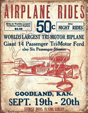 Secrist Flying Circus - Airplane Rides Tin Sign - 12.5x16