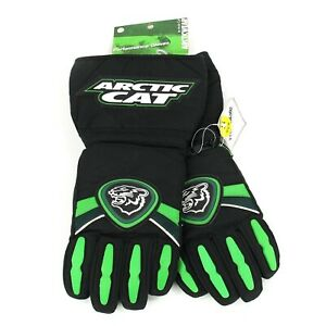Vintage ARCTIC CAT Snowmobile Gauntlet Gloves Logos Leather Small NEW Deadstock