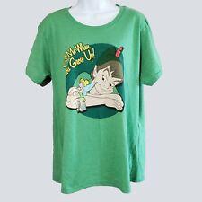 Disney Store Womens Green Call Me When You Grow Up Peter Pan T-Shirt 2XL kfp1