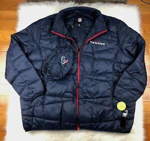 Houston Texans Jacket Packable Puffer Coat w Bag, Navy, NFL Big Man Men 6XL
