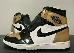 "Nike Air Jordan 1 Retro High OG NRG ""Gold Toe"" Patent Gold 861428-007 Size 10"