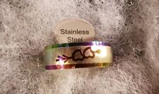 Stainless Steel  Men's Women's Ring Band Multicolor with Hearts sz 10