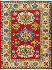 3x5 Hand-Knotted Kazak Carpet Tribal Red Fine Wool Area Rug D57183