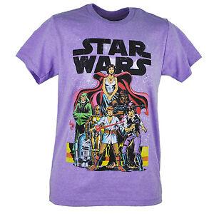 Star Wars Cartoon Cast Distressed Heather Purple Movie Episode Tshirt Tee