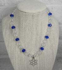Snowflake Holiday Necklace Frosted Glass Crystal Girls Handmade Blue Clear