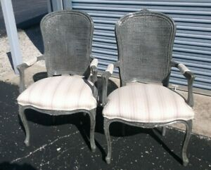 Pair Louis XV French Painted Cane Back Upholstered Arm Chairs