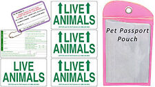 Live Animal Sticker Label Set of 5 w/ Pet Passport Pouch PINK