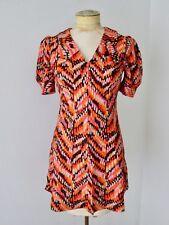 VGC Vtg 60s Mod Orange Red Geometric Poly Knit GoGo Fit Flare Mini Dress XS