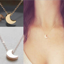 SILVER GOLD TONE SIMPLE MOON CRESCENT CHAIN PENDANT NECKLACE - UK SELLER