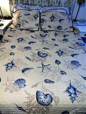 OCEAN BEACH   COASTAL QUILT BEDSPREAD 2 PILLOW SHAM SET FULL/ QUEEN IVORY & BLUE