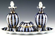 Decor A Sevre Gold Crown over N Vanity Tray Perfume Bottles Trinket Box Set