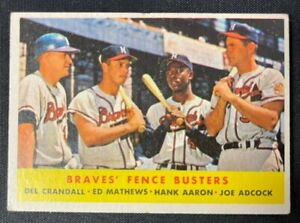 1958 TOPPS BASEBALL CARD HANK AARON/ED MATTHEWS #351 EX-EXMT RANGE