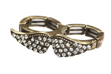 New Quirky Bronze Tone Crystal Adjustable Moustache Double Finger Fashion Ring