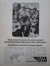 1971-72 PUB COMPAGNIE UTA AIRLINE AIRLINER LA PEROUSE TAHITI ORIGINAL FRENCH AD