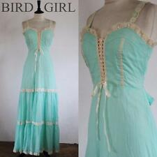 LACE UP BODICE 1960S VINTAGE PEPPERMINT GREEN DOLLYBIRD MAXI DRESS 6 XS
