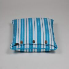 """Stripped Turquoise Blue and White Cushion Cover 50x50cm 20x20"""""""