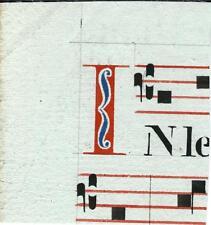 Manoscritto antico CAPOLETTERA I rosso e blu ANTIFONARIO MUSICA 1850 Drop Cap