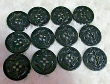 """12 BLACK PLASTIC PEACOAT ANCHOR Buttons FLAT BACK 7/8"""" PREOWNED"""
