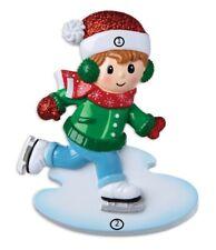 Grandson Boy Ice Skating Figure Skater Personalized Christmas Tree Ornament