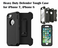 Defender Style Rugged Case W/ Belt Clip for iPhone 7, iPhone 8 Black