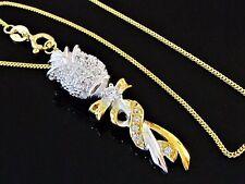 Damen Collier Anhänger Rose mit Kette 925 Sterling Silber Vergoldet Zirkonia TOP