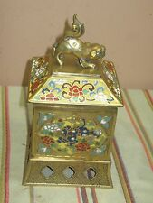 LARGE CHINESE BRASS CLOISONNE ENAMEL FOO DOG HUMIDOR TOBACCO INCENSE BOX