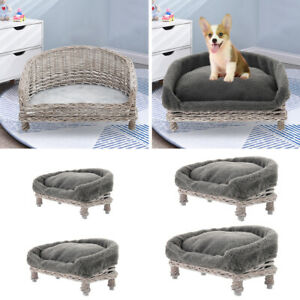 Natural Wicker Pet Bed Handmade Raised Cat Dog Basket Sofa Couch With/No Cushion