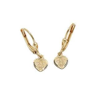Mädchen Schutz Engel im Herz Ohrhänger Kinder Herzchen Ohrringe Echt Gold 333
