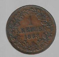 1 Kreuzer Baden 1868 in fast unzirkuliert (sehr schön getönt)