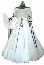 White Purple Renaissance Costume Wedding Gown Dress Corset Chemise Medieval LARP