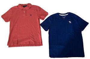 Boy's Lot of 2 Ralph Lauren (10/12) & Abercrombie Kids (11/12) T-Shirts Sz 10-12