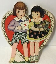 Vtg Antique Embossed Valentines Day Card Pretty Girl Cute Boy Letter Flowers
